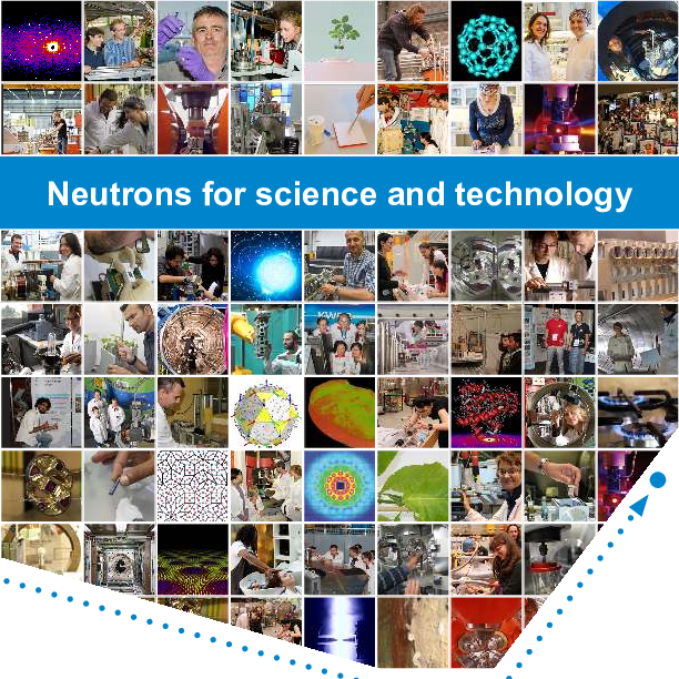 "Frontpage of the ENSA brochure ""Neutrons for Science and Technology"""